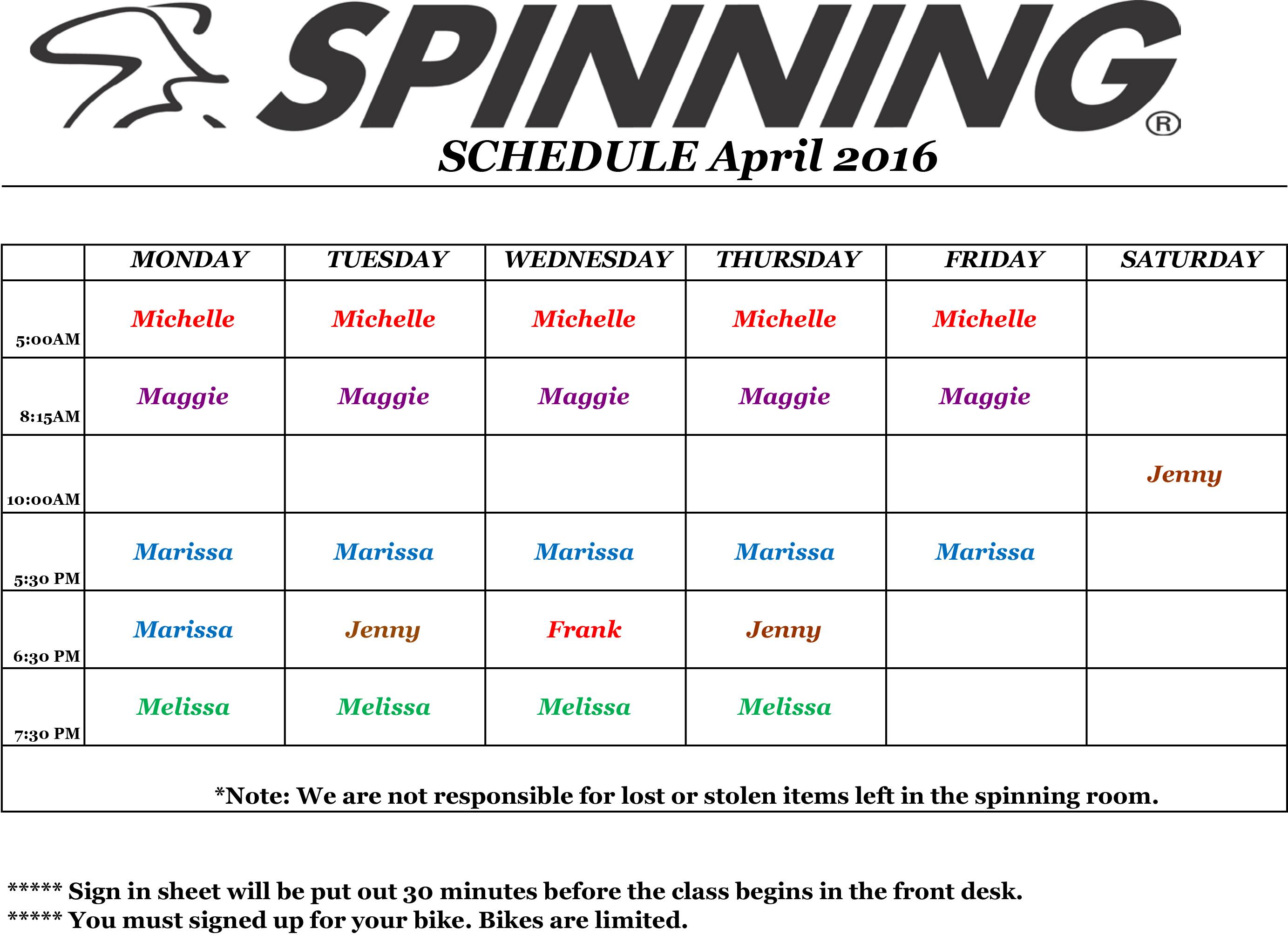 Spinning ScheduleApril2016